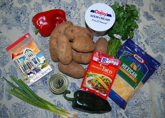 the ingredients for California Christmas potatoes