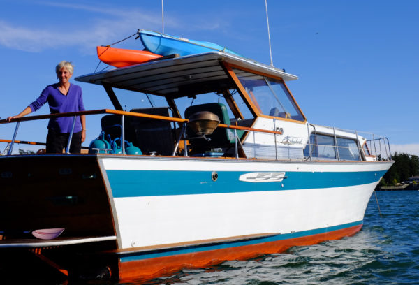 Susan on her boat
